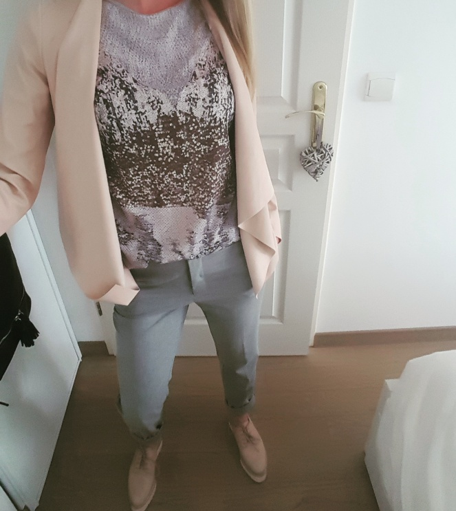 pantalon à pince gris zara